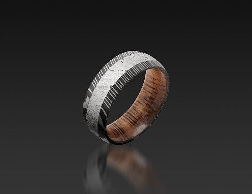 Damascus Steel Domed Band with Meteorite by John Atencio