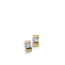 Load image into Gallery viewer, Women's 14-karat Yellow Gold Orion Diamond Stud Earrings