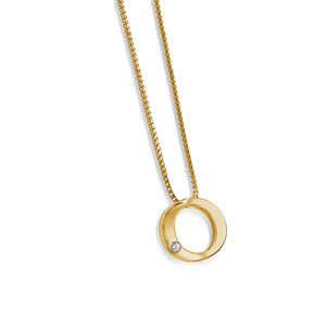 Women's 14 karat Yellow Gold Endearment Diamond Pendant Necklace