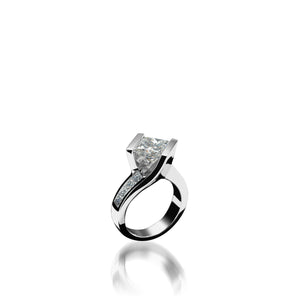 18-karat white gold Intrigue Princess Cut Engagement Ring
