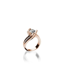 Load image into Gallery viewer, 18 karat Rose Gold Intrigue Round Brilliant Diamond Engagement Ring