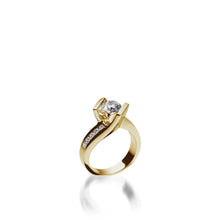 Load image into Gallery viewer, 18 karat Yellow Gold Intrigue Round Brilliant Diamond Engagement Ring