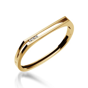 Women's 14 karat Yellow Gold Lines Diamond Hinged Bracelet