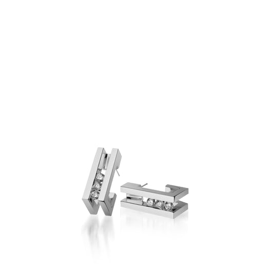 Women's 14 karat White Gold Lines Diamond Huggie Earrings