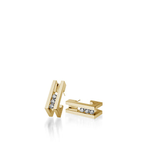 Women's 14 karat Yellow Gold Lines Diamond Huggie Earrings