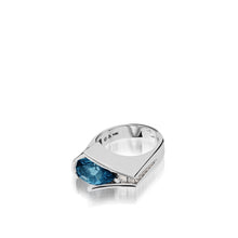 Load image into Gallery viewer, Women's 14 karat White Gold Venture Pear-shaped Blue Topaz Ring with Diamonds