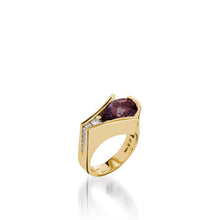 Load image into Gallery viewer, Women's 14 karat Yellow Gold Venture Pear-shaped Rhodolite Garnet Ring with Diamonds
