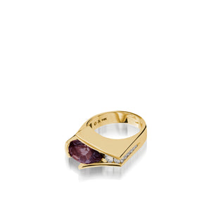 Women's 14 karat Yellow Gold Venture Pear-shaped Rhodolite Garnet Ring with Diamonds
