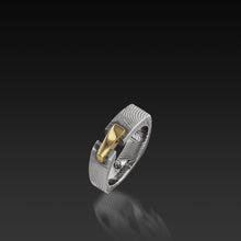 Load image into Gallery viewer, Men's Flat Twist Damascus Steel and 14 karat Yellow Gold Aries Band