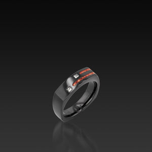 Men's Groove Square Diamond Band with coral inlay