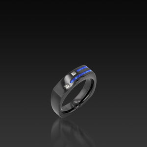 Men's Groove Square Diamond Band with lapis inlay