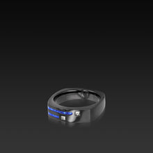 Load image into Gallery viewer, Men's Groove Square Diamond Band with lapis inlay