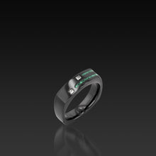 Load image into Gallery viewer, Men's Groove Square Diamond Band malachite inlay