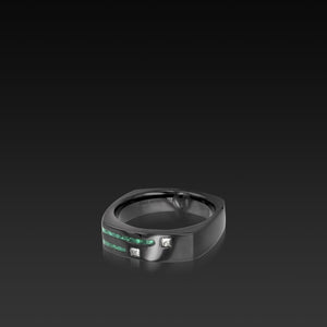 Men's Groove Square Diamond Band malachite inlay