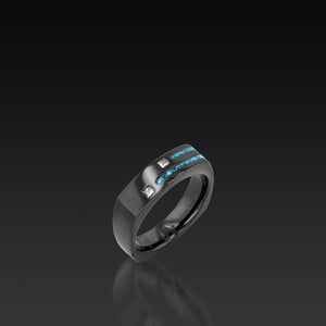 Men's Groove Square Diamond Band with turquoise inlay