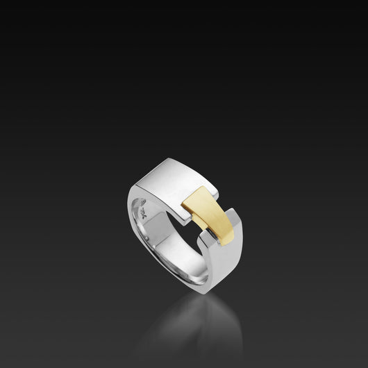 Men's 18 karat white gold band Aries Wide Band with yellow gold accent