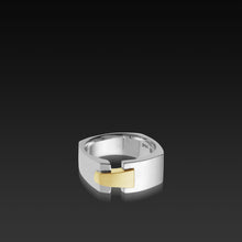 Load image into Gallery viewer, Men's 18 karat white gold band Aries Wide Band with yellow gold accent
