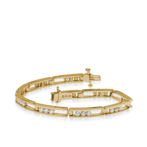 Women's 14 karat Yellow Gold Lines 2.0 Carat Diamond Tennis Bracelet