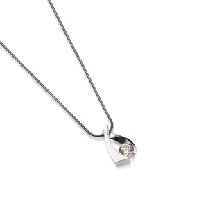 Women's 14-karat White Gold Oyster Small Solitaire Diamond Pendant Necklace