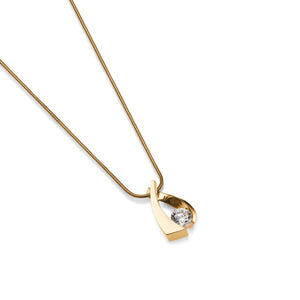 Women's 14-karat Yellow Gold Oyster Small Solitaire Diamond Pendant Necklace