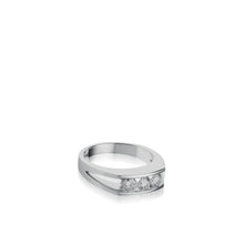 Load image into Gallery viewer, Women's 18 karat White Gold Lines 3-Stone Anniversary Ring