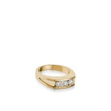Load image into Gallery viewer, Women's 18 karat yellow Gold Lines 3-Stone Anniversary Ring