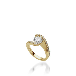 18 karat Yellow Gold Aquarius Engagement Ring