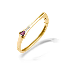 Load image into Gallery viewer, Women's 14 karat Yellow Gold Venture Small Pear-shaped Rhodolite Garnet Bracelet with Diamonds
