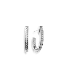 Load image into Gallery viewer, Women's 14 karat White Gold Essence Pave Diamond J-Hoop Earrings