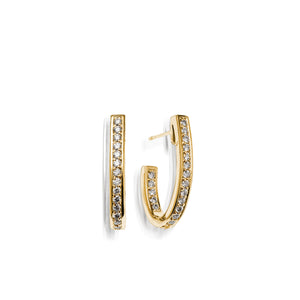 Women's 14 karat Yellow Gold Essence Pave Diamond J-Hoop Earrings