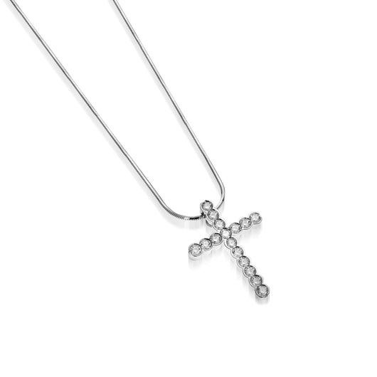 Women's 14 karat White Gold Paloma Diamond Cross Pendant Necklace