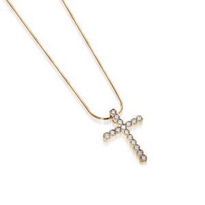 Women's 14 karat Yellow Gold Paloma Diamond Cross Pendant Necklace