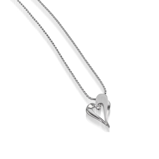 Women's 14 karat White Gold Adore Petite Diamond Heart Pendant Necklace