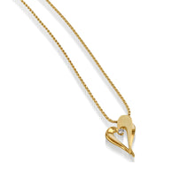 Load image into Gallery viewer, Women's 14 karat Yellow Gold Adore Petite Diamond Heart Pendant Necklace