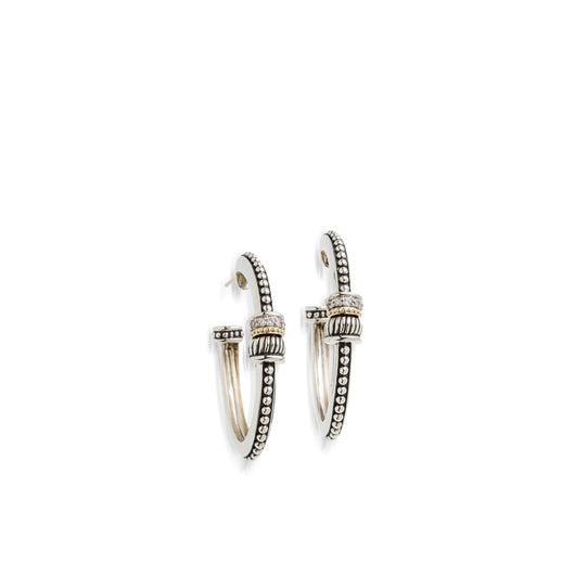 Women's Sterling Silver and 14 karat Yellow Gold Apollo Oval Hoop Earrings with Pave Diamonds