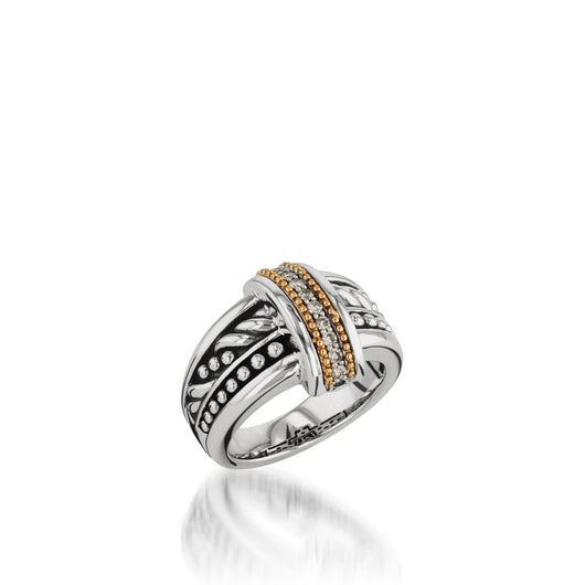 Sterling Silver Apollo Ring with Pave Diamonds