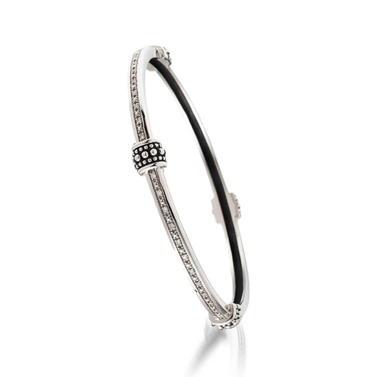 Women's Sterling Silver Antigua Bead Bangle Bracelet with Pave Diamonds