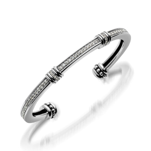 Women's Sterling Silver Apollo Pave Diamond Cuff Bracelet