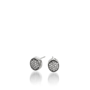 Women's 14 karat White Gold Essence Pave Diamond Stud Earrings