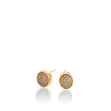 Load image into Gallery viewer, Women's 14 karat Yellow Gold Essence Pave Diamond Stud Earrings