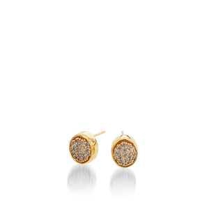 Women's 14 karat Yellow Gold Essence Pave Diamond Stud Earrings