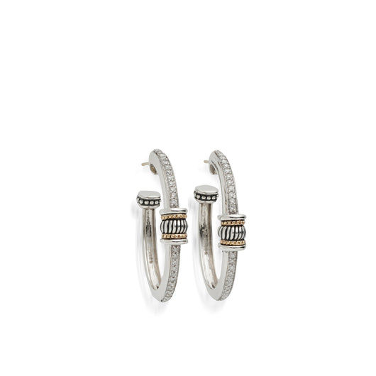 Women's Sterling Silver and 14 karat Yellow Gold Apollo Pave Diamond Oval Hoop Earrings