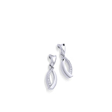 Load image into Gallery viewer, Women's 14 karat White Gold Paris Earrings with Pave Diamonds