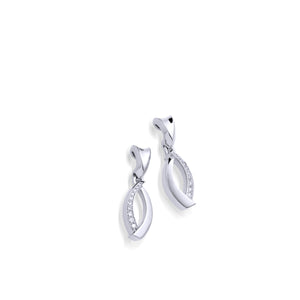 Women's 14 karat White Gold Paris Earrings with Pave Diamonds
