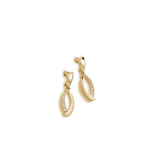 Women's 14 karat Yellow Gold Paris Earrings with Pave Diamonds