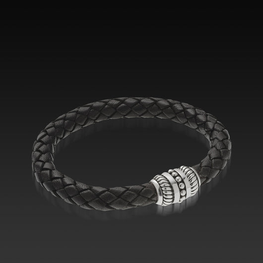 Apollo Men's Sterling Silver Black Leather Bracelet