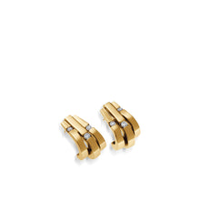 Load image into Gallery viewer, Women's 14 karat Yellow Gold Originate Diamond Curl Earrings