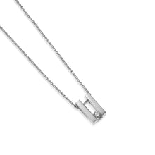 Load image into Gallery viewer, Women's 14 karat White Gold Lines Small Solitaire Diamond Pendant Necklace