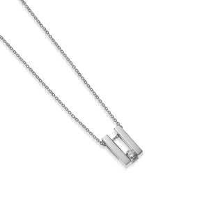 Women's 14 karat White Gold Lines Small Solitaire Diamond Pendant Necklace