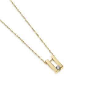 Women's 14 karat Yellow Gold Lines Small Solitaire Diamond Pendant Necklace